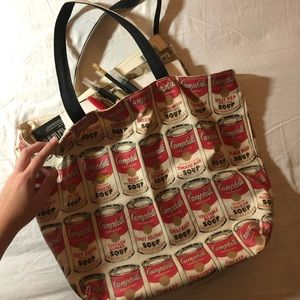 Andy Warhol Campbell's tomato soup print tote bag